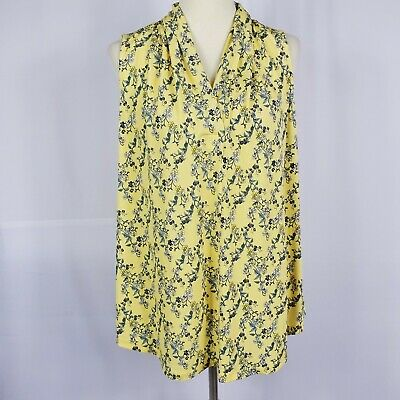 Charter Club womens tunic top plus size 0X yellow blue floral sleeveless new