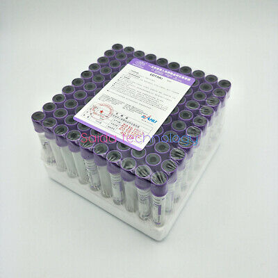 100PC Disposable Sterile Vacuum Blood Collection Tube With EDTAK2 Additives.