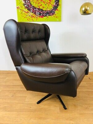 VINTAGE RETRO DANISH  BROWN LEATHER SWIVEL CHAIR 1960,s