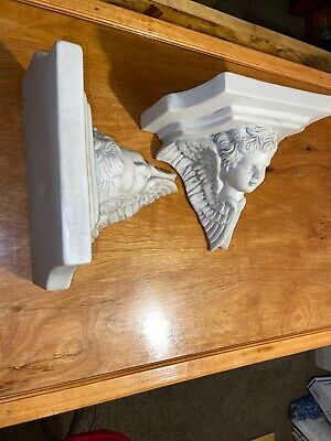 2 Vintage Angle Wall Corbel Bracket Shelf Architectural Accent Home Decor