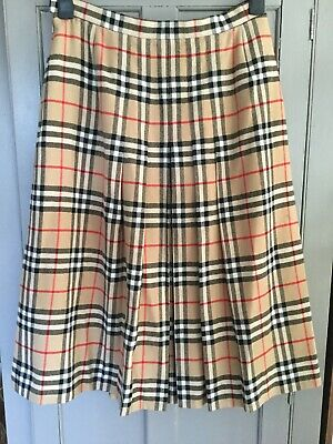 Vintage BURBERRYS London Nova Check Pleated Skirt Classic Burberry 100% Wool