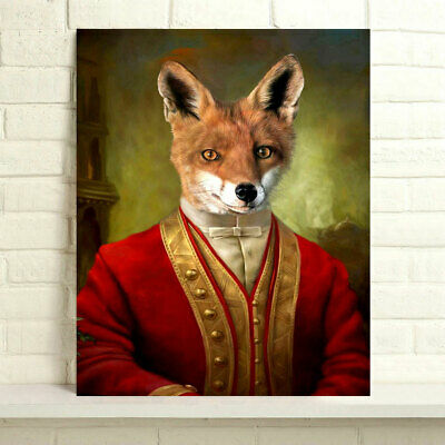 Hand-painted Animals Oil Painting on Canvas Regimental Fox 24x30inch Unframed