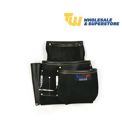 Heavy Duty Leather 9 Pocket Tool Pouch Belt Black Leathered Professional Robust