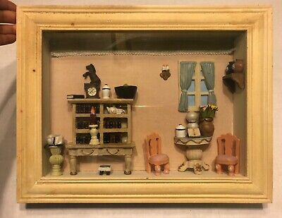 """LIVING ROOM 3D DioramaDoll Shadow Box Scene Wall Hanging Vtg Inspired 11""""X14"""""""