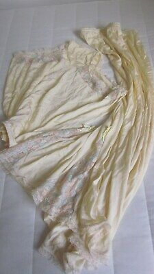 "1950,s yellow ""Celanese"" silky embr.set of slip/panties.Unworn.Fabulous!"