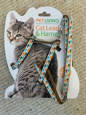 Fully Adjustable Cat Harness and  Lead/Leash/Collar Fish patterned Pet Living