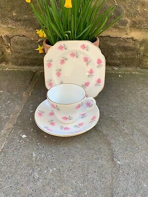 Vintage Trio Pink And White Floral Stanley Fine Bone China