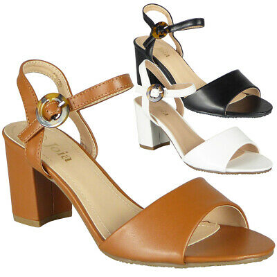 Womens Sandals Open Toe Ladies Summer Strappy Buckle High Heels Comfy Shoes Size