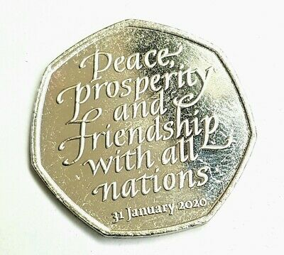 50p Fifty Pence Coin Brexit Peace Prosperity Friendship