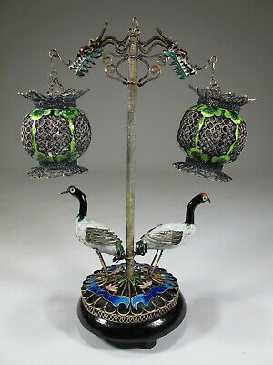 Antique Chinese Export filigree silver & enamel birds & cages # CS59
