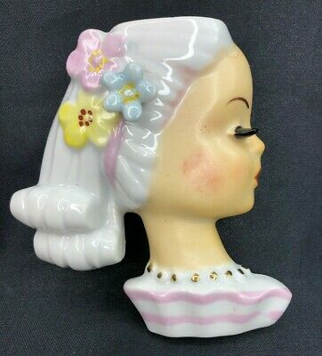 Vintage Lady Head Vase Wall Pocket with Flowers and Ponytail