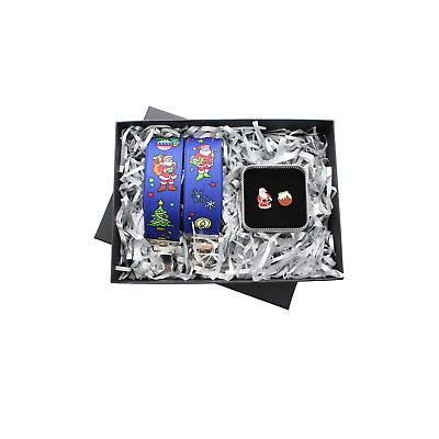 Christmas Blue Braces and Christmas Pudding Cufflink Gift Set 2 Piece