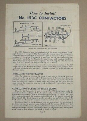 LIONEL INSTRUCTION SHEET FOR HOW TO INSTALL No. 153C CONTACTORS - #3