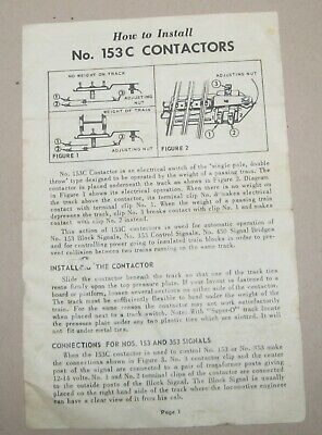 LIONEL INSTRUCTION SHEET FOR HOW TO INSTALL No. 153C CONTACTORS - #2