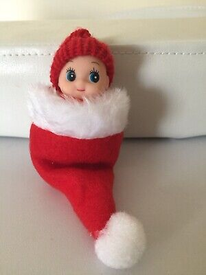 Red Baby Doll  For Your Elf With Santa Hat Props Accessories On The Shelf