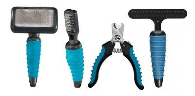 4 Piece Dog Grooming Tool Kit Professional Pet Groomer Basic Supplies Teal Color