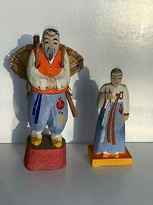 Japanese Hand Carved Painted Wooden Wood Pair Figurine Miniature Folk Art USA