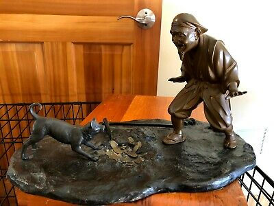 Japanese Antique Bronze Okimono Hanasaka Jisan & His Dog