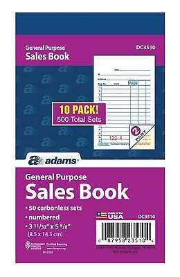 """Adams General Purpose Sales Book, 2-Part, Carbonless, White/Canary, 3-11/32"""" x"""