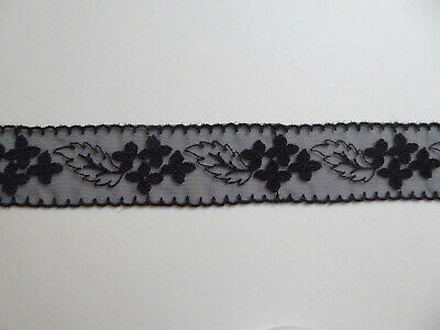 Vintage Swiss Embroidered Lace. Black. 33mms. x 1 Metre