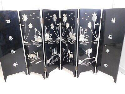 """Oriental Table Screen Two Sided Lacquer and Mother of Pearl Inlay 12"""" x 24"""""""