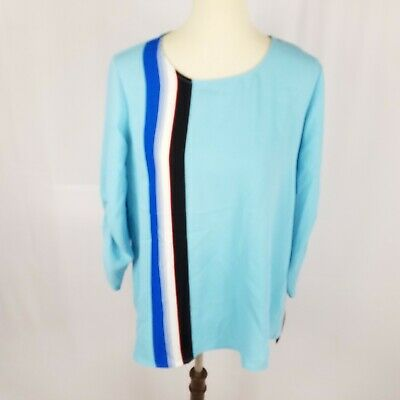 Alfani womens tunic top plus size 2X blue 3/4 ruched sleeves back zip career new
