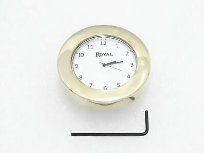 White Dial Brass Stem Nut Clock Watch Suitable For Royal Enfield @Cl