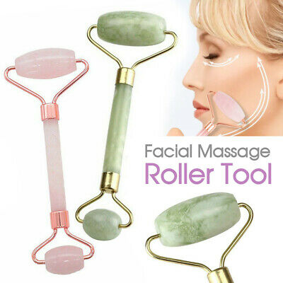 Facial Massage Roller Tool Natural Quartz Crystal Stone Face Neck Beauty Tool
