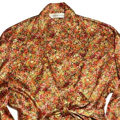Vtg Victorias Secret Satin Robe One Size Floral Attached Belt Pockets FallColors
