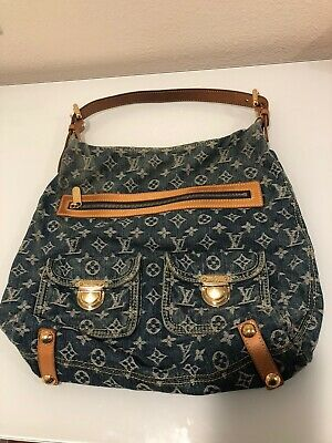 Authentic LOUIS VUITTON Baggy GM M95048 Blue Monogram Denim Shoulder Bag