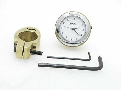 White Dial Brass Handle Watch With Clamp Suitable For Royal Enfield @Cl