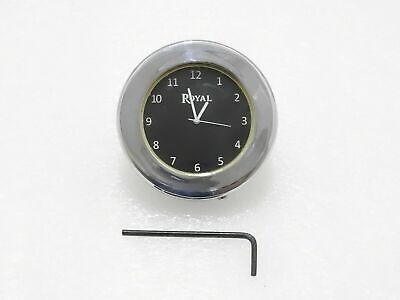 Black Dial Brass Chrome Stem Nut Clock Watch Suitable For Royal Enfield @Cl