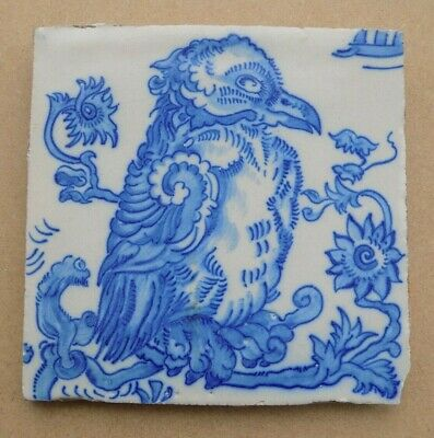Vintage / Antique Blue & White Pictorial Tile - Unusual Bird