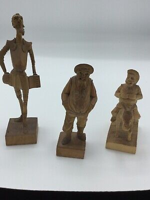 Set Of 3 Vintage Ouro Artesania Spain Don Quixote Wooden Had Carved Figurines