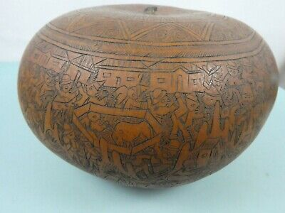 Vintage Carved Gourd From Peru Scrimshaw Ethnographic Museum Quality