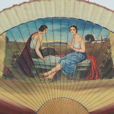 Antique Ladies Folding Fan Women Playing Cards