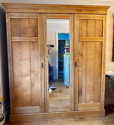 Antique Victorian Linen Press Triple Wardrobe Mirrored