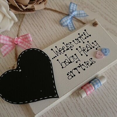 Baby Countdown Plaque Sign Pregnancy Announcement Chalk Personalised Shower Gift