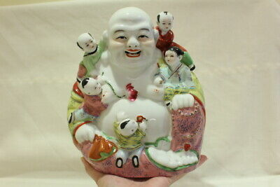 Antique Chinese Famille Rose Porcelain Laughing Buddha w. Kids Marked Nº  24cm