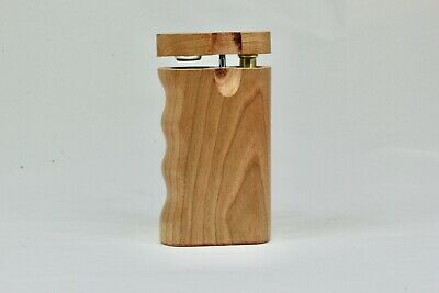 "3"" Dugout One Hitter Cherry Wood Spring Lock Finger Grip & Brass Bat"