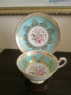 Paragon England Porcelain Tea Cup And Saucer Flowers Turquoise Blue Gold
