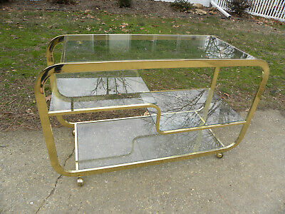 Vintage Mid Century Brass & Glass 4 Tiered Rolling Serving Bar Cart or Sideboard