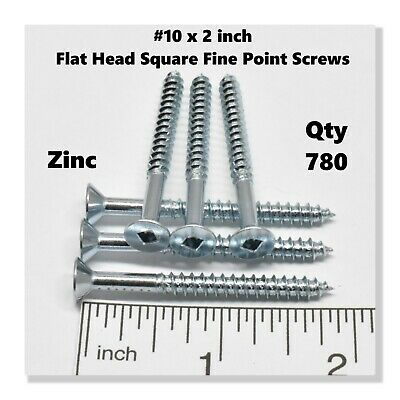 "(780) #10 x 2"" Deck Screws Square Drive Wood Screws Flat Head Internal Square"