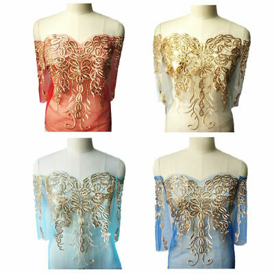 1x Gold Sequin Embroidered Applique For Wedding Bridal Dress Decor DIY Fabric