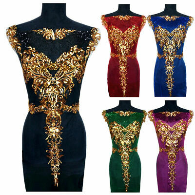1 Set Embroidered Gold Sequin Applique Patch For Wedding Dress Gown DIY Fabric