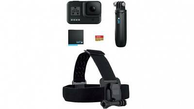 Gopro Hero 8 Black Bundle with Shorty pole,Spare battery,Head Strap,SD Card