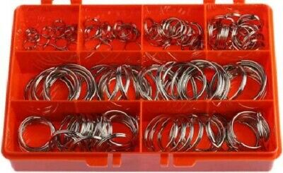 RS Pro SPLIT RING KIT 154Pcs Nickel Plated Steel, Compartment Box
