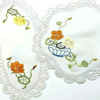 Very Vintage 2 x  Hand Embroidered White Doilies, Nasturtium Flower Theme