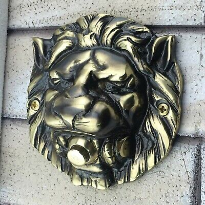 Large Solid Brass Lion's Head Push Button Door Bell Lot Finishes Free Shipping