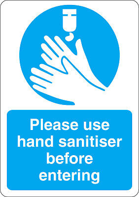 Please use hand saitiser before entering mandatory safety sign sticker A5 size